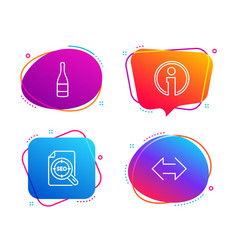 seo file champagne bottle and info icons set vector image
