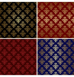 set of vintage patterns with gold tracery vector image