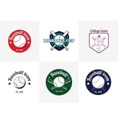 set vintage color baseball championship logos vector image