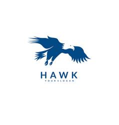 silhouette eagle hawk falcon logo bird eagle vector image