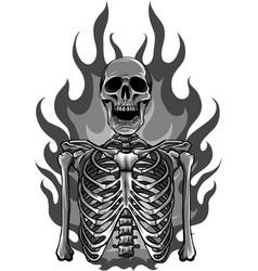 Skeleton in flame design vector
