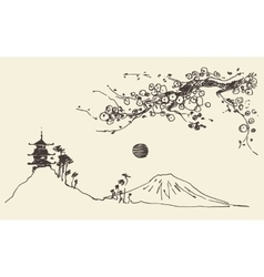 Sketch Fuji mountain pagoda blossoms Japan vector