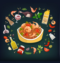 spaghetti marinara vector image