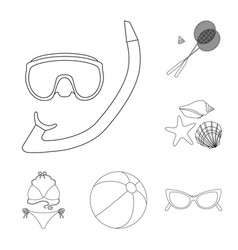 summer rest outline icons in set collection for vector image