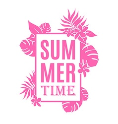 Summer time background with leaves and flowers and vector image