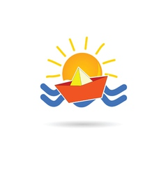 Sun icon with paper boat vector