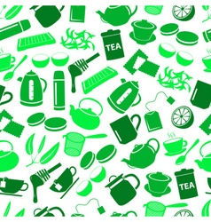 tea theme green simple icons seamless pattern vector image