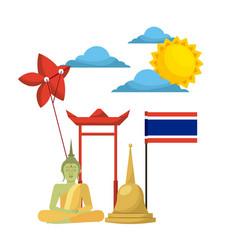thailand buddha flag temple kite symbol vector image vector image