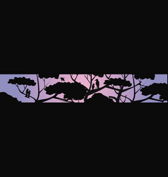 trees and birds silhouettes night landscape vector image