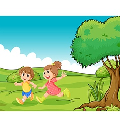 Two adorable little kids playing at hilltop vector