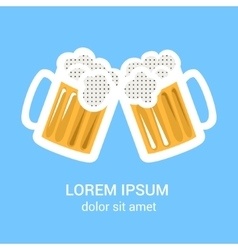 Two beer glasses mug for web poster invitation vector image