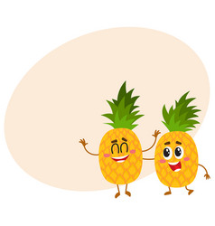 two cute and funny pineapple characters one vector image