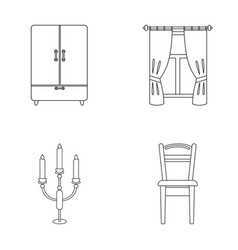 Wardrobe window with curtains candlestick chair vector