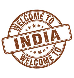 Welcome to india brown round vintage stamp vector