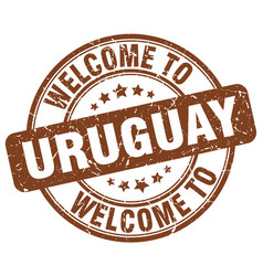 Welcome to uruguay brown round vintage stamp vector