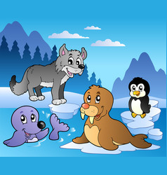 Winter scene with various animals 2 vector