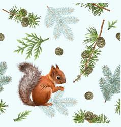 Winter squirrel pattern vector