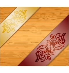 Wood background with ribbons vector image