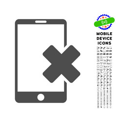 Wrong smartphone icon with set vector