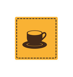 yellow sticker cup with plate icon vector image