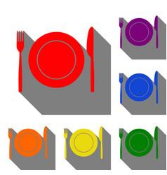 fork knife and plate sign set of red orange vector image
