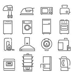 House Appliances Black White Icons Set vector image vector image