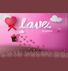 paper art of happy valentine day balloon flying vector image