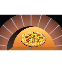 pizza in oven vector image vector image