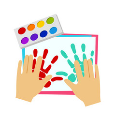 two hands painting with finger paint elementary vector image vector image
