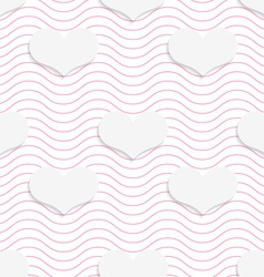 White 3D with colors hearts on pink waves vector image