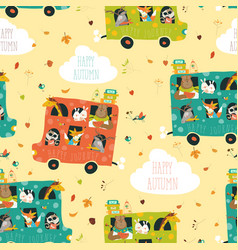 animals seamless pattern traveling by bus vector image