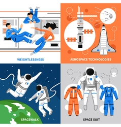 Astronauts 2x2 Design Concept vector image vector image