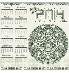 Calendar 2014 in mayan style vector image