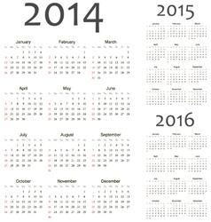 European 2014 2015 2016 calendars vector image
