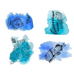 Hand draw set of different marina creatures vector image