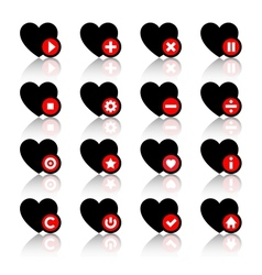 Icons set - black hearts and red buttons vector image
