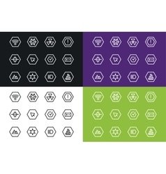 Outline UI technology icons set vector image