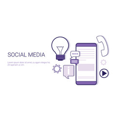 social media communication concept web banner with vector image