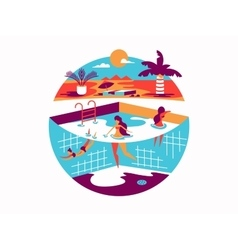 Swimming pool with people on vacation vector image vector image