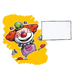 Clown holding business card vector