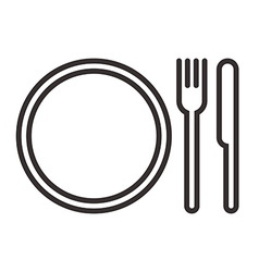 Plate knife and fork sign vector image vector image