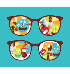 Retro sunglasses with spring reflection in it vector