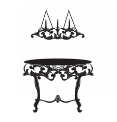 Rich Baroque commode Table and lamp vector image