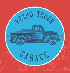 vintage garage background old retro pick-up truck vector image