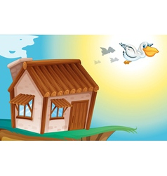 wooden house and birds vector image