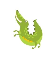 Crocodile Jumping Like Dog Flat Cartoon Green vector image vector image