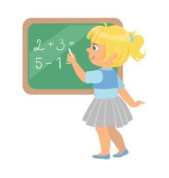 cute little schoolgirl standing near the vector image