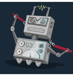 Cute vintage dancer robot party print on vector