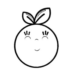 Figure kawaii nice happy orange fruit vector
