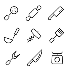 line kitchen and cooking icons set vector image
